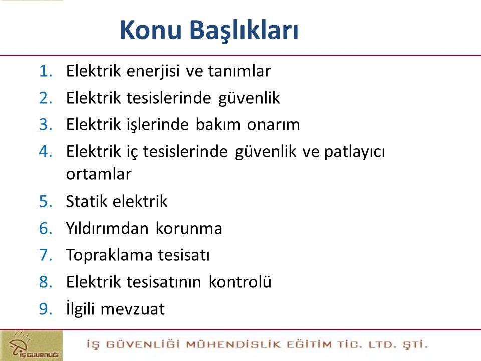 Konu Başlıkları 1.Elektrik enerjisi ve tanımlar 2.Elektrik tesislerinde güvenlik 3.Elektrik işlerinde bakım onarım 4.Elektrik iç tesislerinde güvenlik