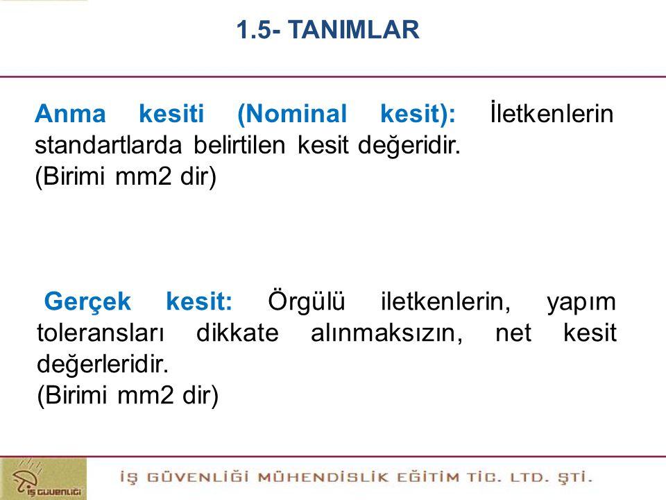 Anma kesiti (Nominal kesit): İletkenlerin standartlarda belirtilen kesit değeridir. (Birimi mm2 dir) Gerçek kesit: Örgülü iletkenlerin, yapım tolerans