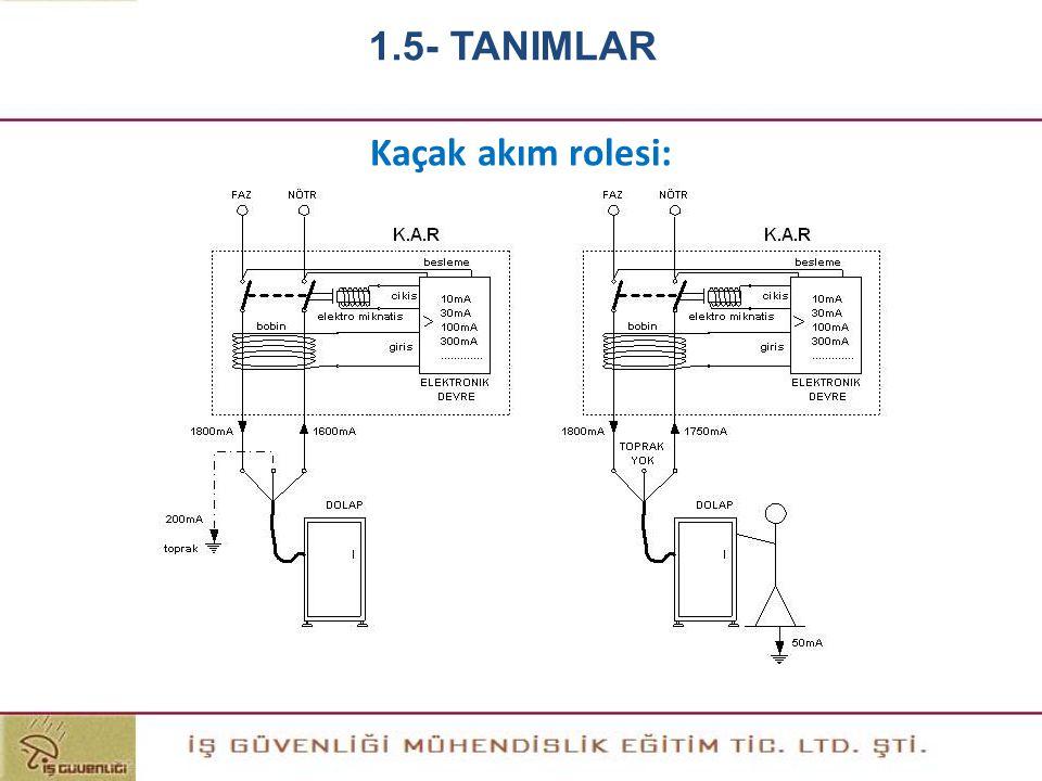 Kaçak akım rolesi: 1.5- TANIMLAR