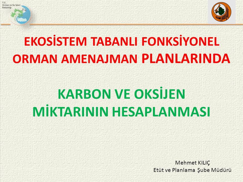 EKOSİSTEM TABANLI FONKSİYONEL ORMAN AMENAJMAN PLANLARINDA KARBON VE OKSİJEN MİKTARININ HESAPLANMASI Mehmet KILIÇ Etüt ve Planlama Şube Müdürü