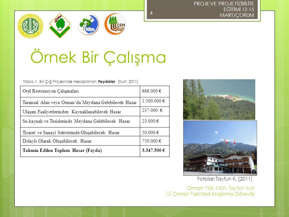 Örnek Bir Çalışma 5 Çığ Önleyici YapılarMaliyet Çelik Yapılar(R1)1.900.000 € Çelik Yapılar (R2) 1.261.000 € Çelik Yapılar (R3)776.000 € Ahşap Yapılar (R3)570.000 € Ağaçlandırma (R3)45.000 € Patlatma Direkleri600.000 € Çığ Durdurucu Duvar1.284.000€ Çığ Saptırıcı Duvar482.000 € Tablo.2 Bir Çığ Projesinde Hesaplanan Maliyetler [Kurt, 2011] Fotolar: Tayfun K.