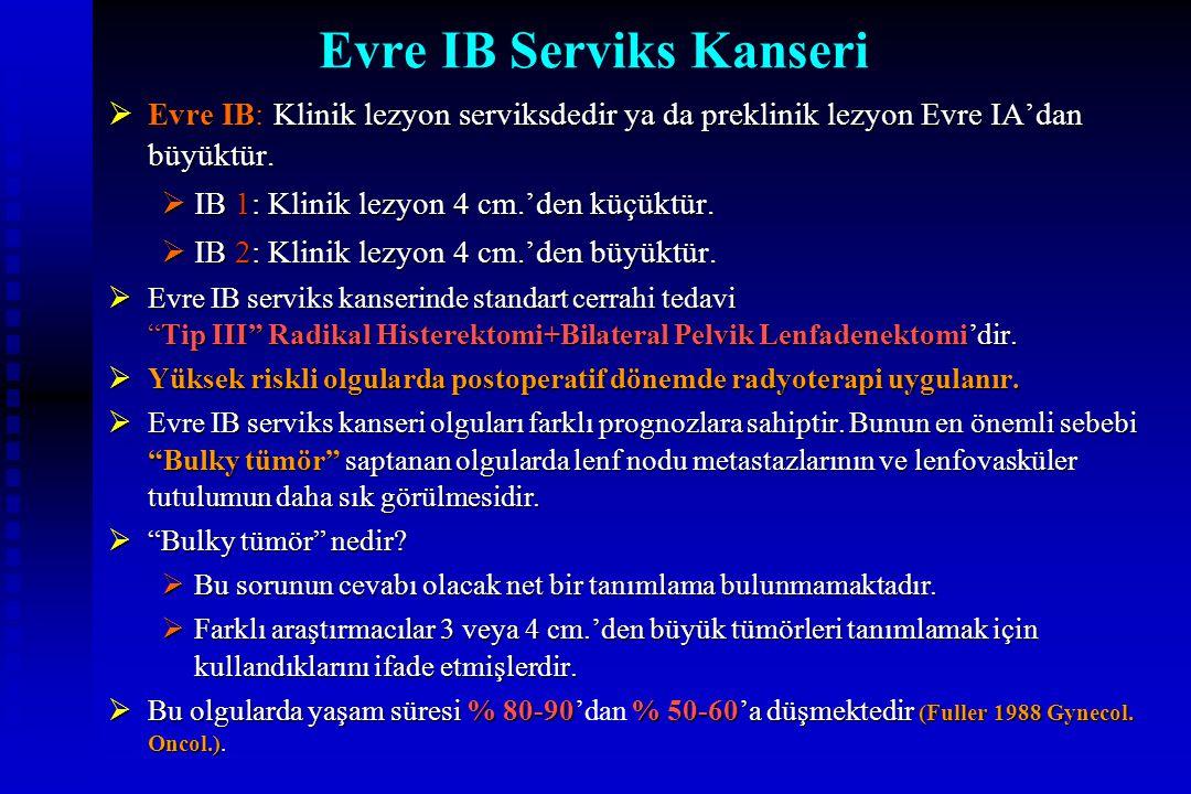 Evre IB Serviks Kanseri  Evre IB: Klinik lezyon serviksdedir ya da preklinik lezyon Evre IA'dan büyüktür.  IB 1: Klinik lezyon 4 cm.'den küçüktür. 