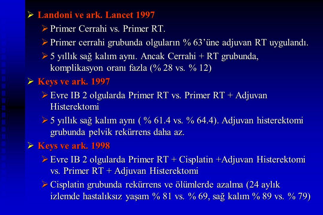 Landoni ve ark. Lancet 1997  Primer Cerrahi vs. Primer RT.  Primer cerrahi grubunda olguların % 63'üne adjuvan RT uygulandı.  5 yıllık sağ kalım