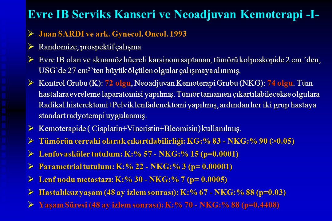 Evre IB Serviks Kanseri ve Neoadjuvan Kemoterapi -I-  Juan SARDI ve ark. Gynecol. Oncol. 1993  Randomize, prospektif çalışma  Evre IB olan ve skuam