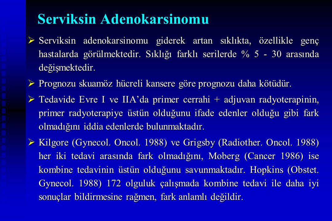 Serviksin Adenokarsinomu  Serviksin adenokarsinomu giderek artan sıklıkta, özellikle genç hastalarda görülmektedir. Sıklığı farklı serilerde % 5 - 30