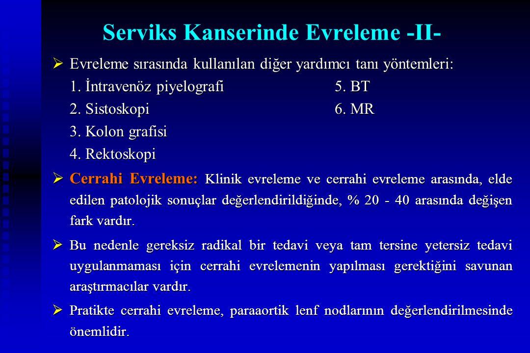 Serviks Kanserinde Evreleme -II-  Evreleme sırasında kullanılan diğer yardımcı tanı yöntemleri: 1. İntravenöz piyelografi5. BT 2. Sistoskopi6. MR 3.