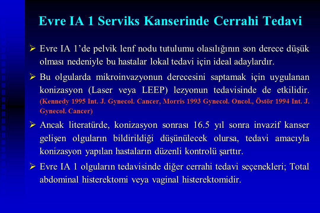 Evre IA 1 Serviks Kanserinde Cerrahi Tedavi  Evre IA 1'de pelvik lenf nodu tutulumu olasılığının son derece düşük olması nedeniyle bu hastalar lokal