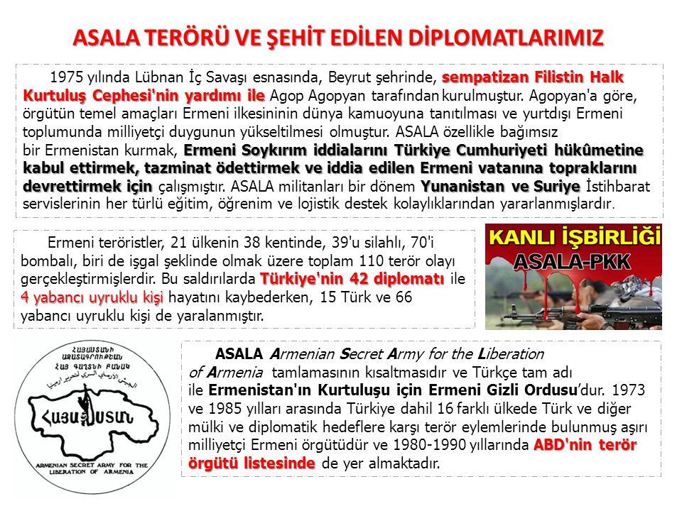 sempatizan Filistin Halk Kurtuluş Cephesi'nin yardımı ile Ermeni Soykırım iddialarını Türkiye Cumhuriyeti hükûmetine kabul ettirmek, tazminat ödettirm