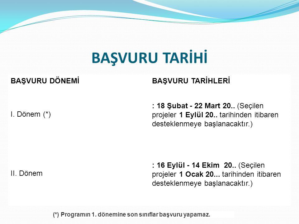 BAŞVURU TARİHİ BAŞVURU DÖNEMİBAŞVURU TARİHLERİ I. Dönem (*) : 18 Şubat - 22 Mart 20.. (Seçilen projeler 1 Eylül 20.. tarihinden itibaren desteklenmeye