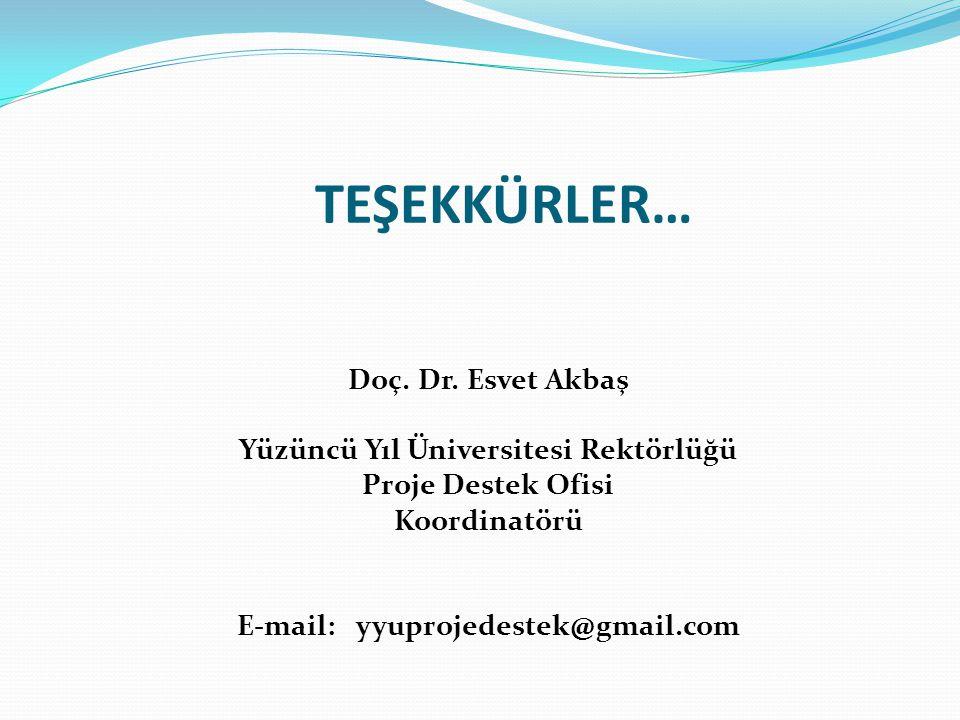 TEŞEKKÜRLER… Doç. Dr. Esvet Akbaş Yüzüncü Yıl Üniversitesi Rektörlüğü Proje Destek Ofisi Koordinatörü E-mail: yyuprojedestek@gmail.com