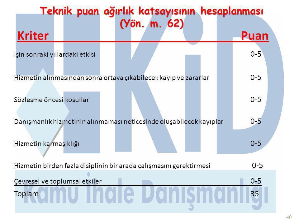 Teknik puan ağırlık katsayısının hesaplanması (Yön. m. 62) Kriter Puan İşin sonraki yıllardaki etkisi 0-5 Hizmetin alınmasından sonra ortaya çıkabilec