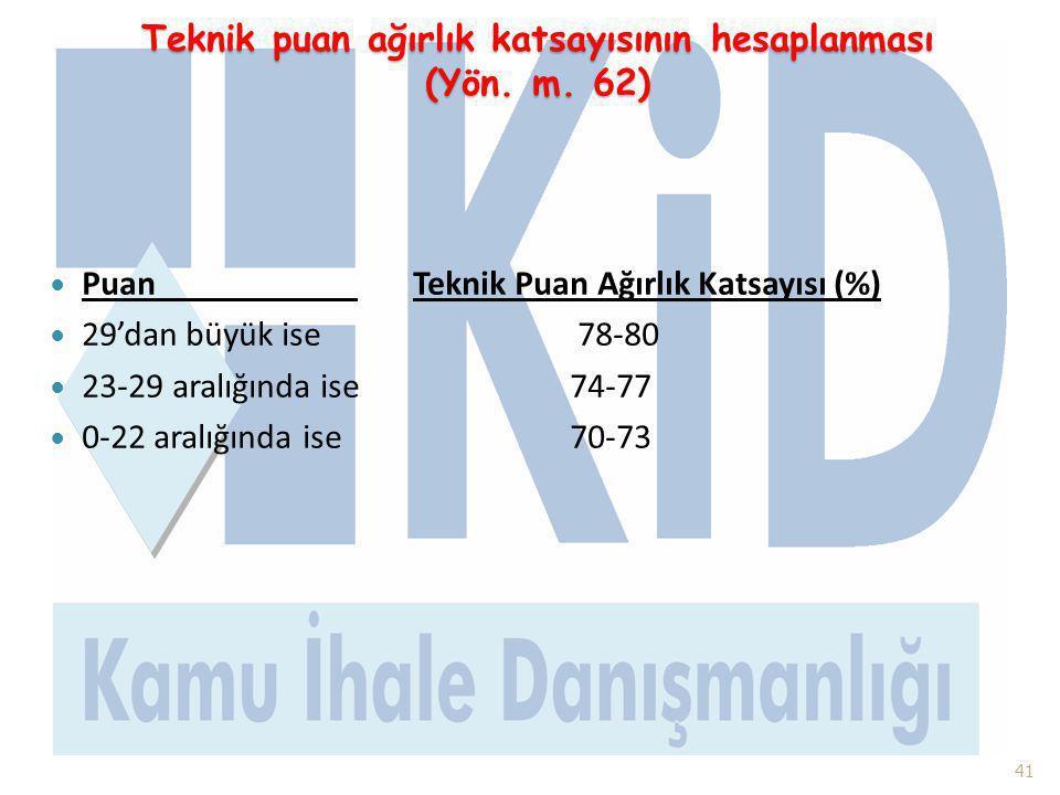 Teknik puan ağırlık katsayısının hesaplanması (Yön. m. 62)  Puan Teknik Puan Ağırlık Katsayısı (%)  29'dan büyük ise 78-80  23-29 aralığında ise74-