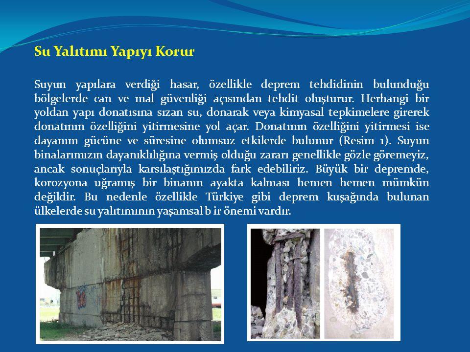 Su Yalıtımı Yapıyı Korur Suyun yapılara verdiği hasar, özellikle deprem tehdidinin bulunduğu bölgelerde can ve mal güvenliği açısından tehdit oluşturur.