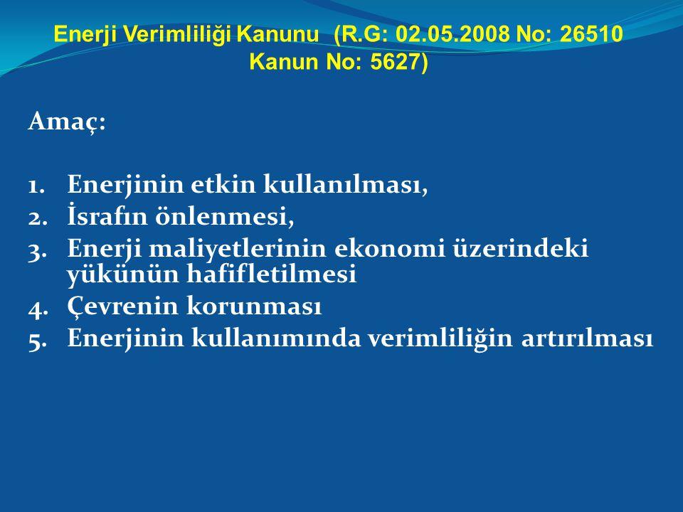 Enerji Verimliliği Kanunu (R.G: 02.05.2008 No: 26510 Kanun No: 5627) Amaç: 1.Enerjinin etkin kullanılması, 2.İsrafın önlenmesi, 3.Enerji maliyetlerini