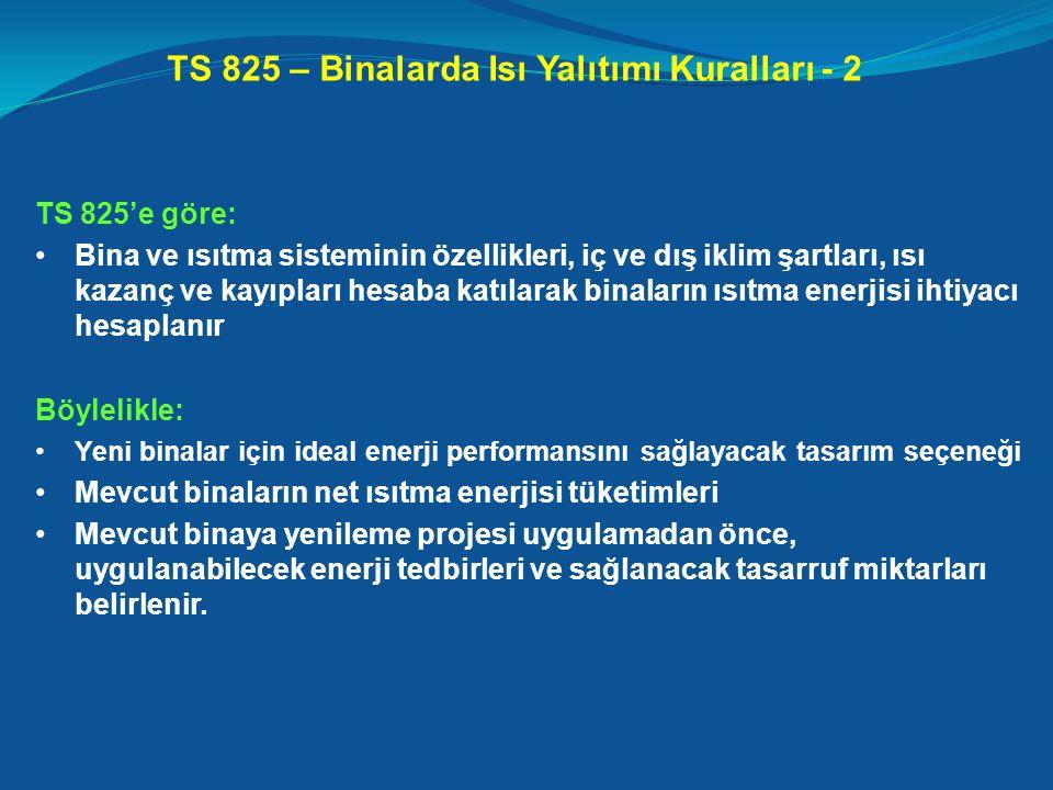 TS 825 – Binalarda Isı Yalıtımı Kuralları - 2 TS 825'e göre: •Bina ve ısıtma sisteminin özellikleri, iç ve dış iklim şartları, ısı kazanç ve kayıpları