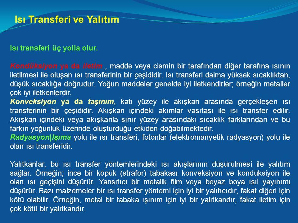 Isı Transferi ve Yalıtım Isı transferi üç yolla olur. Kondüksiyon ya da iletim, madde veya cismin bir tarafından diğer tarafına ısının iletilmesi ile