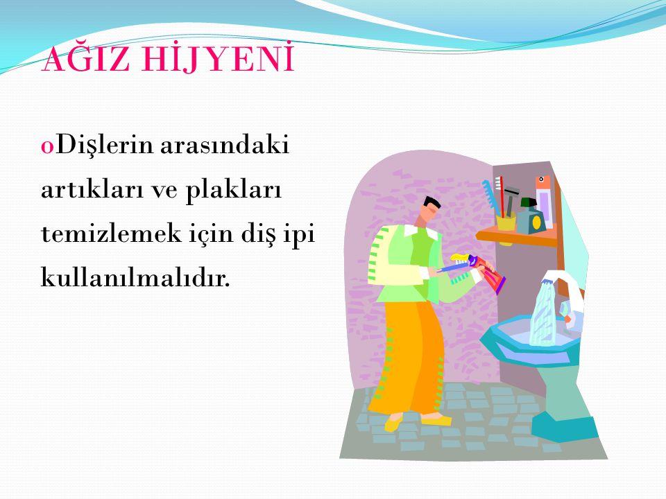 A Ğ IZ H İ JYEN İ oDi ş lerin arasındaki artıkları ve plakları temizlemek için di ş ipi kullanılmalıdır.