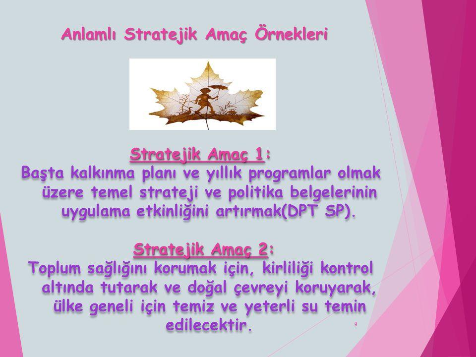 Anlamlı Stratejik Amaç Örnekleri 9 Stratejik Amaç 1: Başta kalkınma planı ve yıllık programlar olmak üzere temel strateji ve politika belgelerinin uyg
