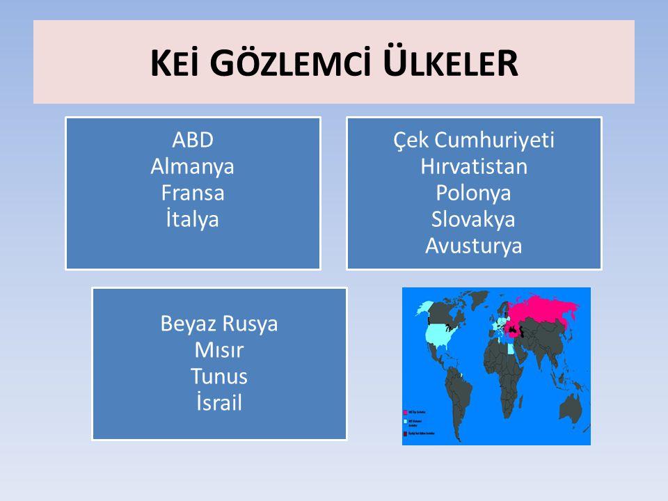 K Eİ G ÖZLEMCİ Ü LKELE R ABD Almanya Fransa İtalya Çek Cumhuriyeti Hırvatistan Polonya Slovakya Avusturya Beyaz Rusya Mısır Tunus İsrail