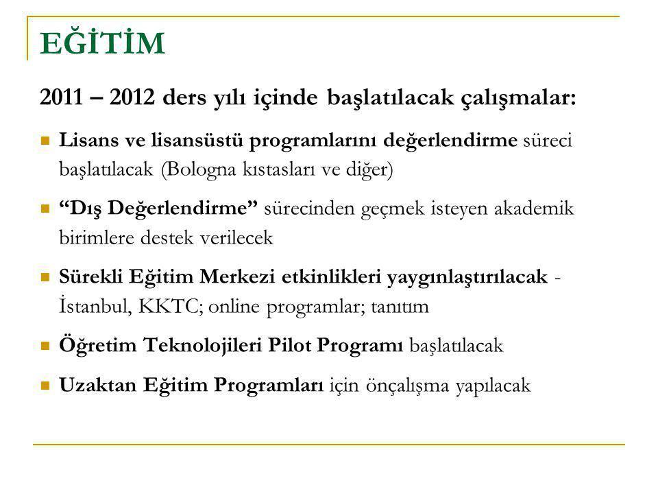 2011 – 2012 ders yılı içinde başlatılacak çalışmalar:  Lisans ve lisansüstü programlarını değerlendirme süreci başlatılacak (Bologna kıstasları ve di
