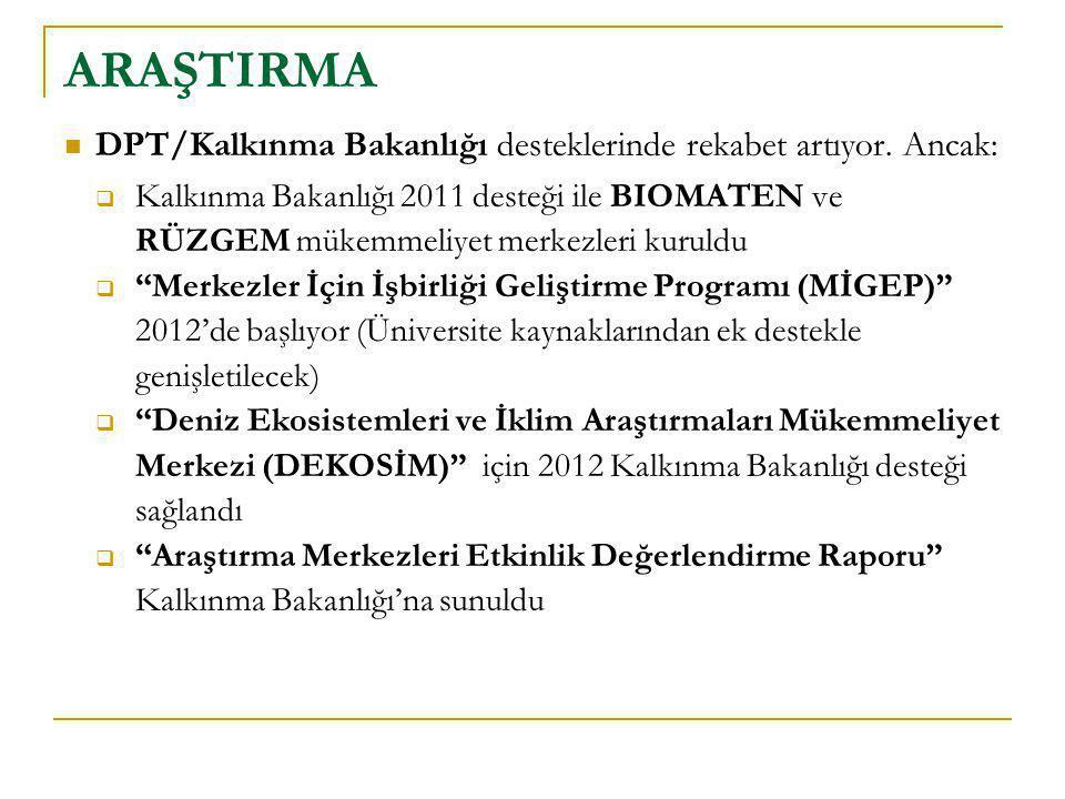  DPT/Kalkınma Bakanlığı desteklerinde rekabet artıyor. Ancak:  Kalkınma Bakanlığı 2011 desteği ile BIOMATEN ve RÜZGEM mükemmeliyet merkezleri kuruld