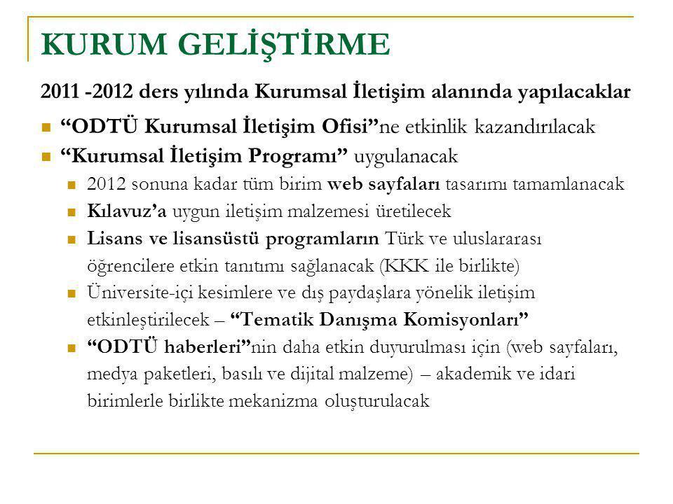 """2011 -2012 ders yılında Kurumsal İletişim alanında yapılacaklar  """"ODTÜ Kurumsal İletişim Ofisi""""ne etkinlik kazandırılacak  """"Kurumsal İletişim Progra"""