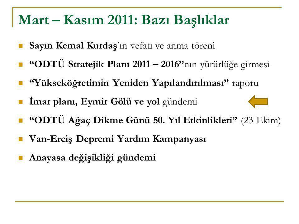 """ Sayın Kemal Kurdaş'ın vefatı ve anma töreni  """"ODTÜ Stratejik Planı 2011 – 2016""""nın yürürlüğe girmesi  """"Yükseköğretimin Yeniden Yapılandırılması"""" r"""