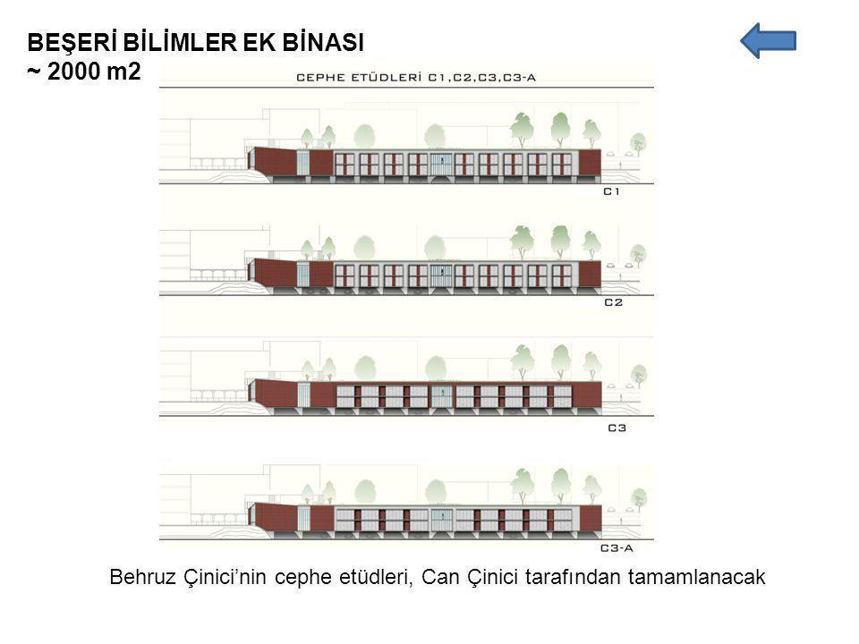 BEŞERİ BİLİMLER EK BİNASI ~ 2000 m2 Behruz Çinici'nin cephe etüdleri, Can Çinici tarafından tamamlanacak