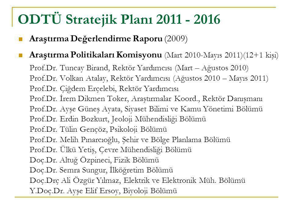  Araştırma Değerlendirme Raporu (2009)  Araştırma Politikaları Komisyonu (Mart 2010-Mayıs 2011)(12+1 kişi) Prof.Dr. Tuncay Birand, Rektör Yardımcısı