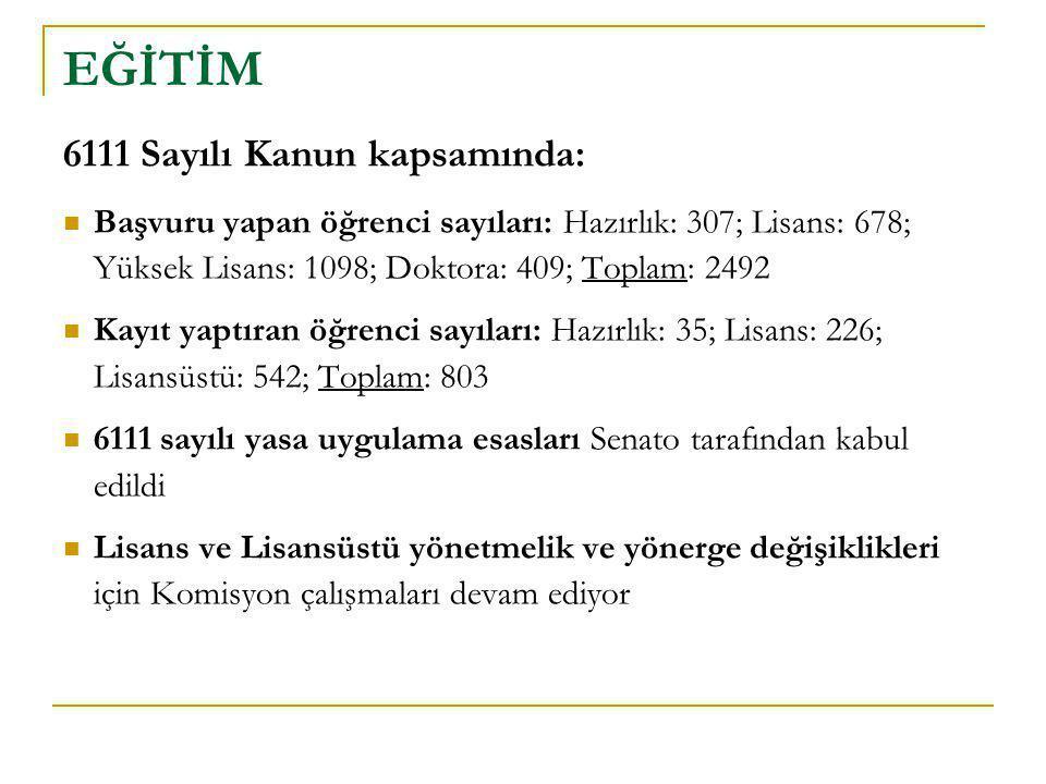 2011 – 2012 ders yılı içinde başlatılacak çalışmalar:  Lisans ve lisansüstü programlarını değerlendirme süreci başlatılacak (Bologna kıstasları ve diğer)  Dış Değerlendirme sürecinden geçmek isteyen akademik birimlere destek verilecek  Sürekli Eğitim Merkezi etkinlikleri yaygınlaştırılacak - İstanbul, KKTC; online programlar; tanıtım  Öğretim Teknolojileri Pilot Programı başlatılacak  Uzaktan Eğitim Programları için önçalışma yapılacak EĞİTİM