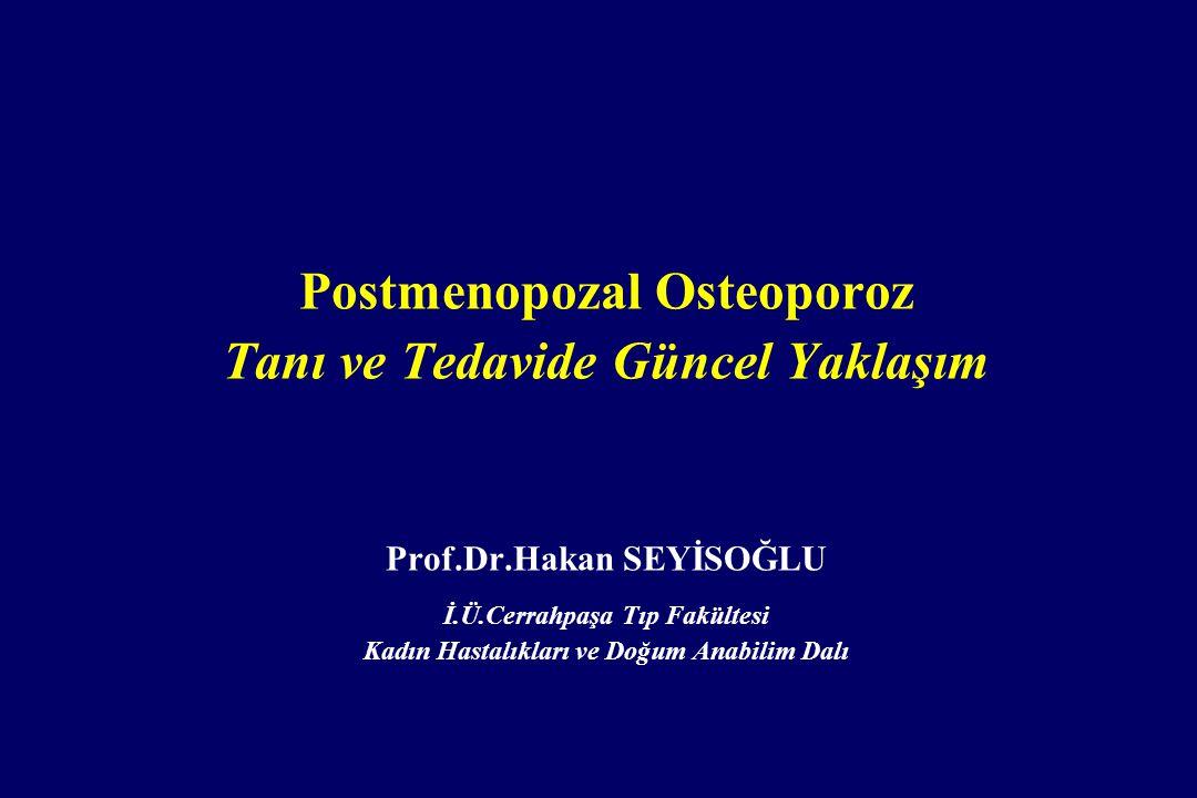 Zoledronik Asit TEDAVİ Postmenopozal osteoporoz Paget Hastalığı TEDAVİ 5 mg IV infüzyon Yılda bir İnfüzyon süresi 15 dakika Endikasyon Doz Frx risk azalması Vertebral +++ Non-vertebral ++ Kalça ++ Yan etki Akut faz reaksiyonu (Ateş, artralji, myalji) Alt çene osteonekrozu Geçici klirens artışı Atrial fibrilasyon Hipokalsemi Kontrendikasyon Hipersensitivite Hipokalsemi Kreatinin Klirensi <35 ml/dakika