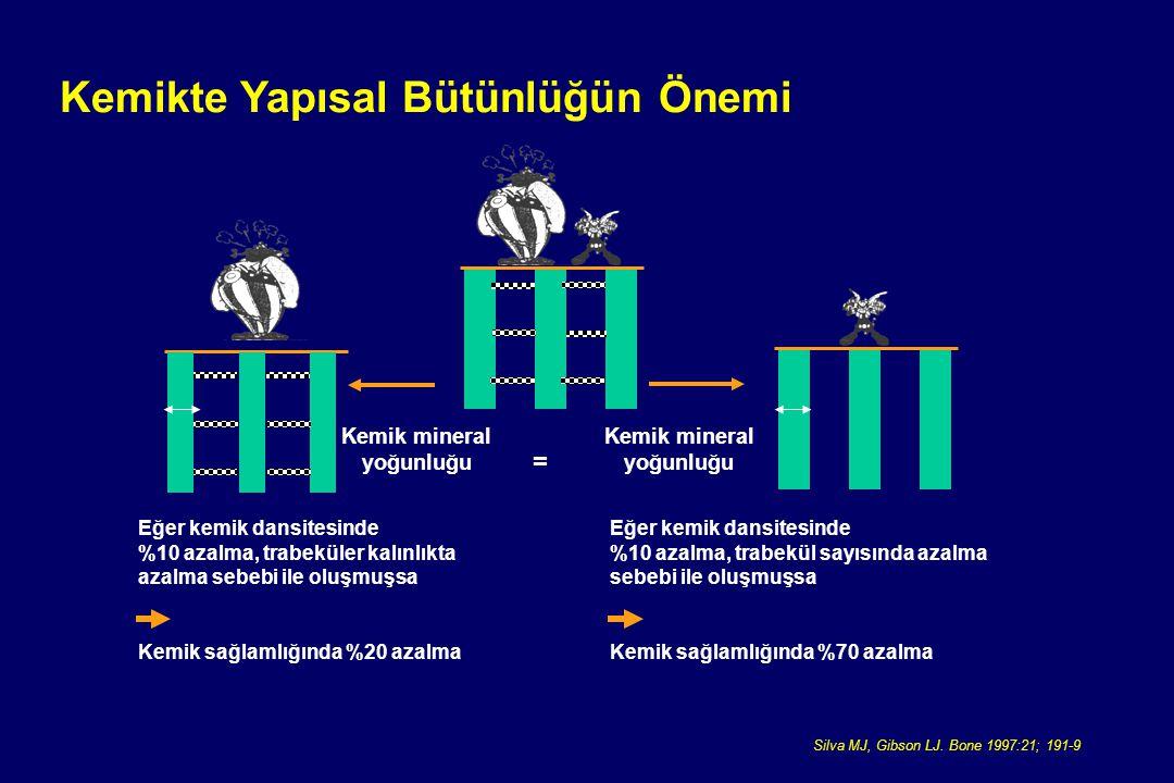Kemikte Yapısal Bütünlüğün Önemi Silva MJ, Gibson LJ. Bone 1997:21; 191-9 Kemik mineral yoğunluğu Kemik mineral yoğunluğu = Eğer kemik dansitesinde %1