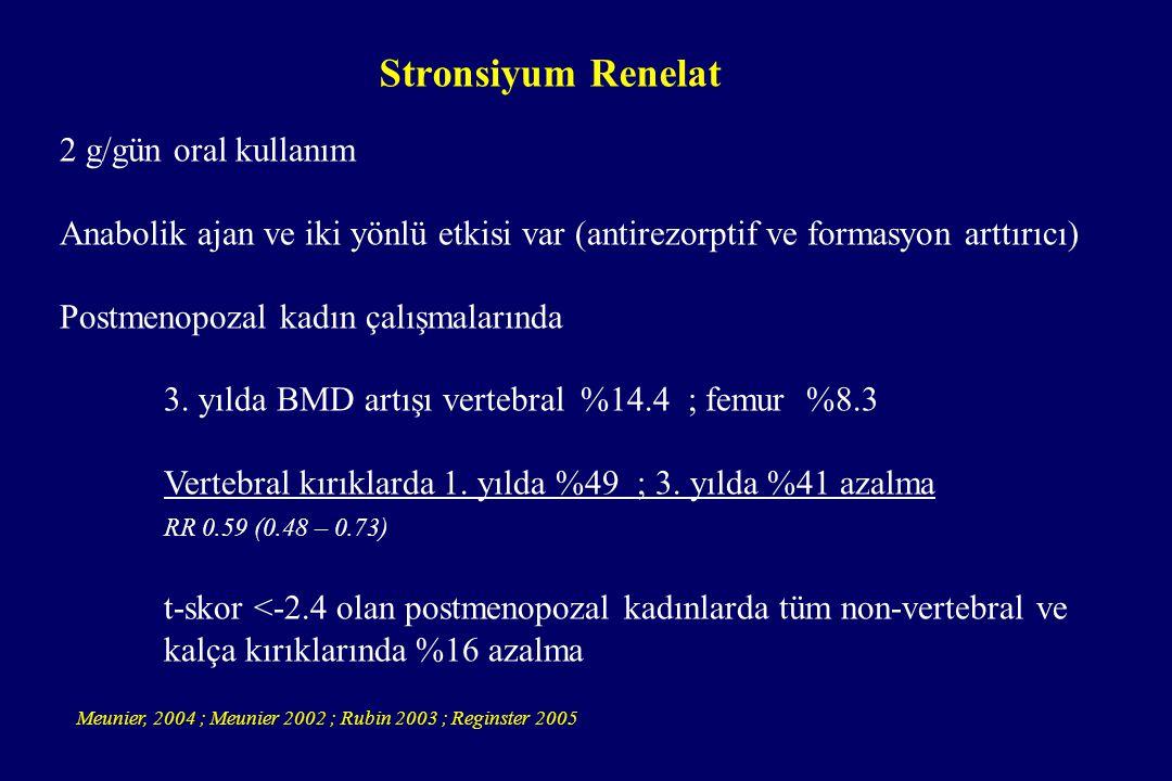 Stronsiyum Renelat 2 g/gün oral kullanım Anabolik ajan ve iki yönlü etkisi var (antirezorptif ve formasyon arttırıcı) Postmenopozal kadın çalışmaların