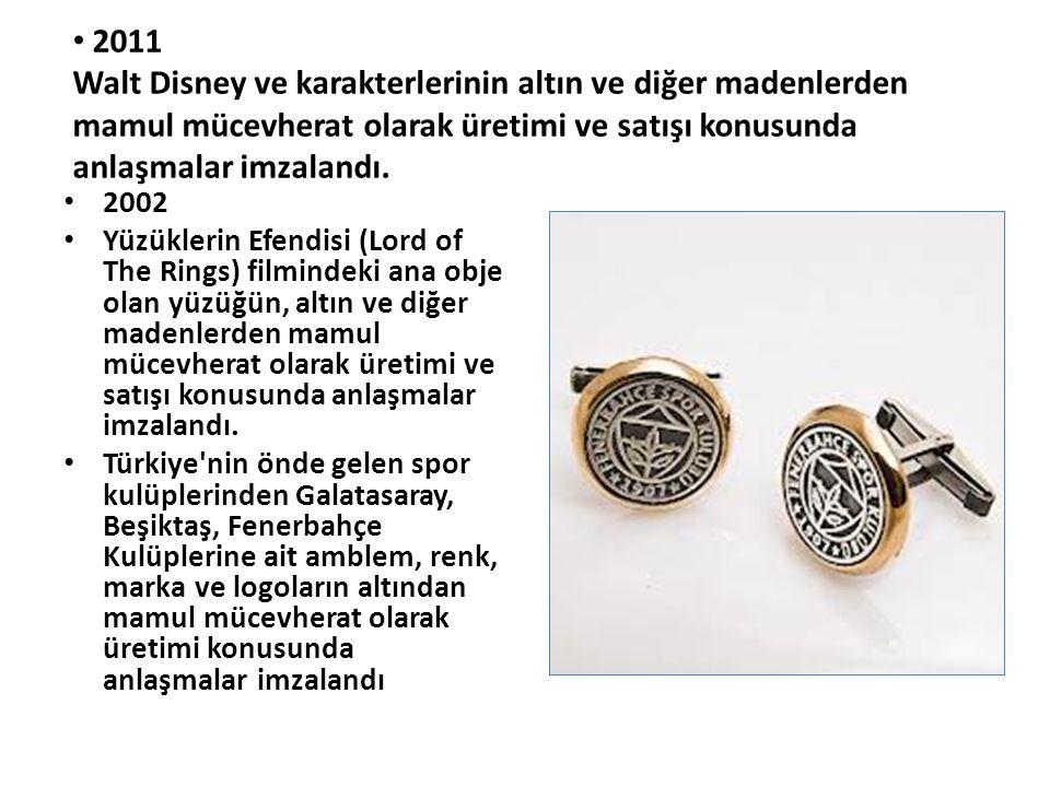 • 2011 Walt Disney ve karakterlerinin altın ve diğer madenlerden mamul mücevherat olarak üretimi ve satışı konusunda anlaşmalar imzalandı. • 2002 • Yü