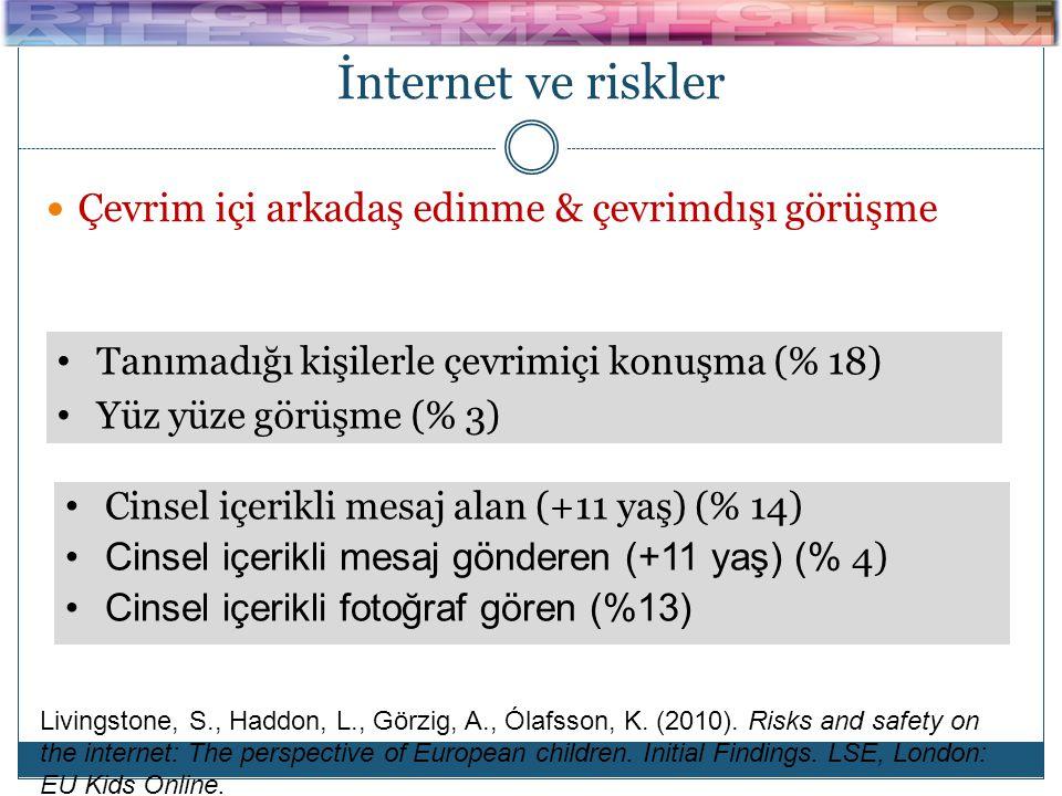 İnternet ve riskler  Çevrim içi arkadaş edinme & çevrimdışı görüşme  Cinsel içerik ve mesaj • Tanımadığı kişilerle çevrimiçi konuşma (% 18) • Yüz yüze görüşme (% 3) • Cinsel içerikli mesaj alan (+11 yaş) (% 14) •Cinsel içerikli mesaj gönderen (+11 yaş) (% 4) •Cinsel içerikli fotoğraf gören (%13) Livingstone, S., Haddon, L., Görzig, A., Ólafsson, K.