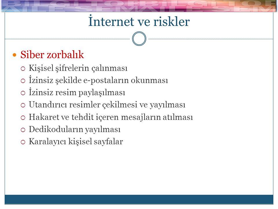 İnternet ve riskler  Siber zorbalık  Kişisel şifrelerin çalınması  İzinsiz şekilde e-postaların okunması  İzinsiz resim paylaşılması  Utandırıcı