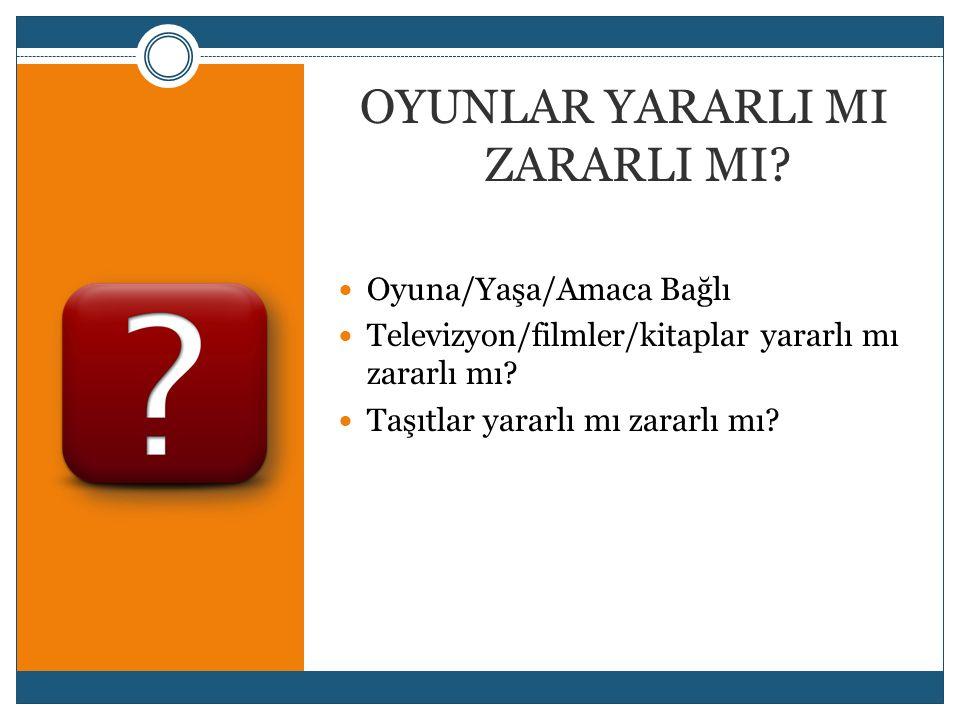 OYUNLAR YARARLI MI ZARARLI MI?  Oyuna/Yaşa/Amaca Bağlı  Televizyon/filmler/kitaplar yararlı mı zararlı mı?  Taşıtlar yararlı mı zararlı mı?