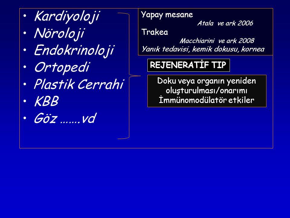 •Kardiyoloji •Nöroloji •Endokrinoloji •Ortopedi •Plastik Cerrahi •KBB •Göz …….vd REJENERATİF TIP Doku veya organın yeniden oluşturulması/onarımı İmmünomodülatör etkiler Sınırlı çoğalma yeteneği.