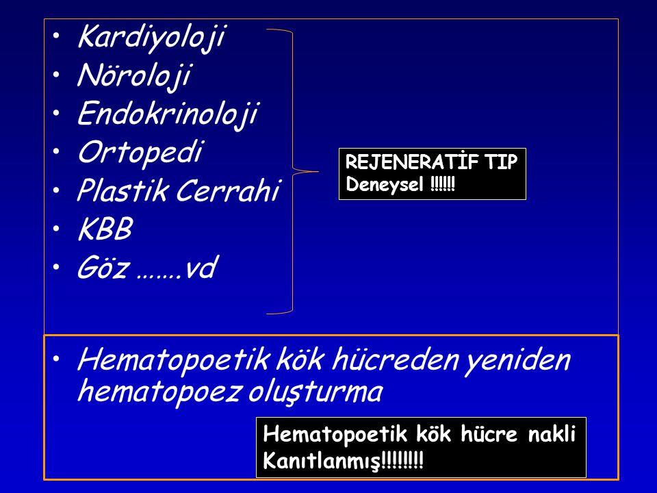 •Kardiyoloji •Nöroloji •Endokrinoloji •Ortopedi •Plastik Cerrahi •KBB •Göz …….vd •Hematopoetik kök hücreden yeniden hematopoez oluşturma REJENERATİF TIP Deneysel !!!!!.