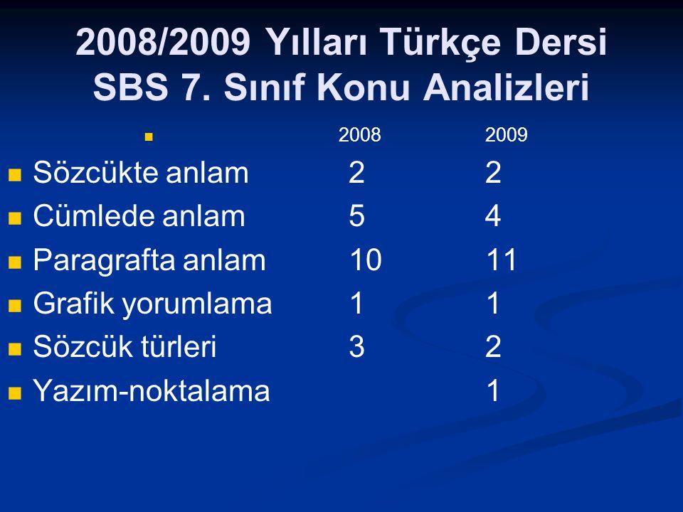 2008/2009 Yılları Türkçe Dersi SBS 7.