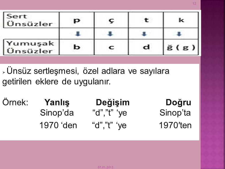 07.01.2013 11  Sert ünsüzlerin (f,s,t,k,ç,ş,h,p) biriyle biten sözcüklere c,d,g yumuşak ünsüzlerinden biriyle başlayan bir ek getirildiğinde, bu eklerin başındaki C, Ç 'ye D,T' ye G,K' ye dönüşür.