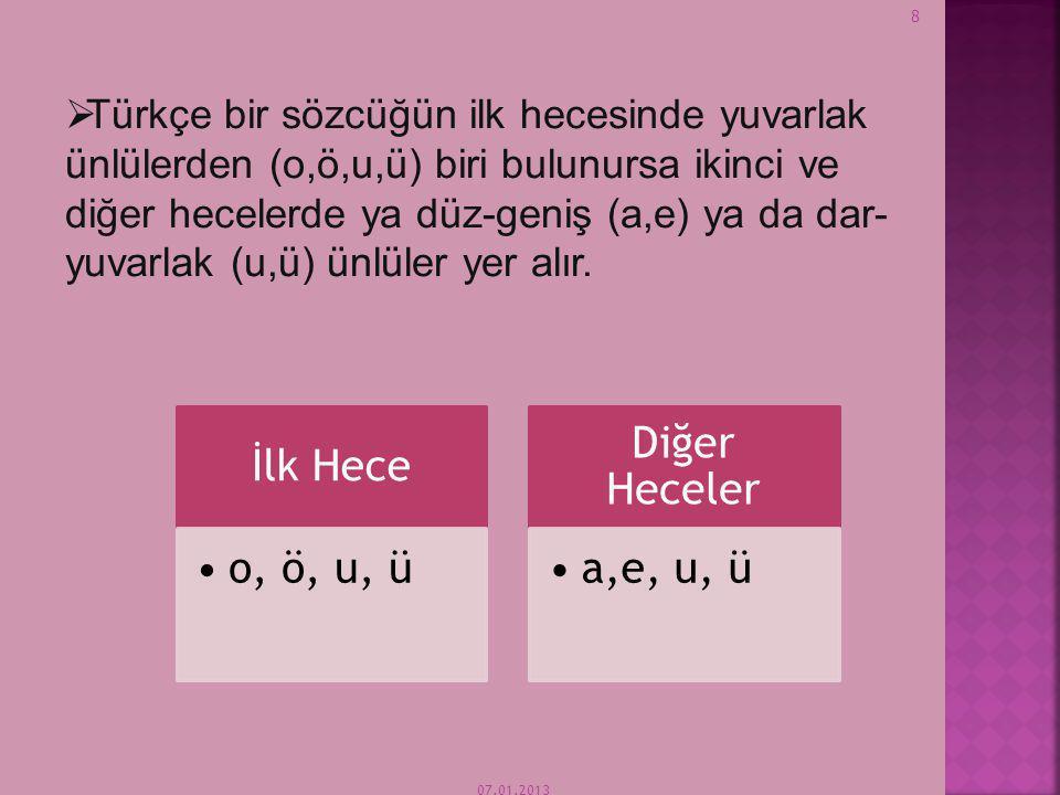 07.01.2013 8  Türkçe bir sözcüğün ilk hecesinde yuvarlak ünlülerden (o,ö,u,ü) biri bulunursa ikinci ve diğer hecelerde ya düz-geniş (a,e) ya da dar- yuvarlak (u,ü) ünlüler yer alır.