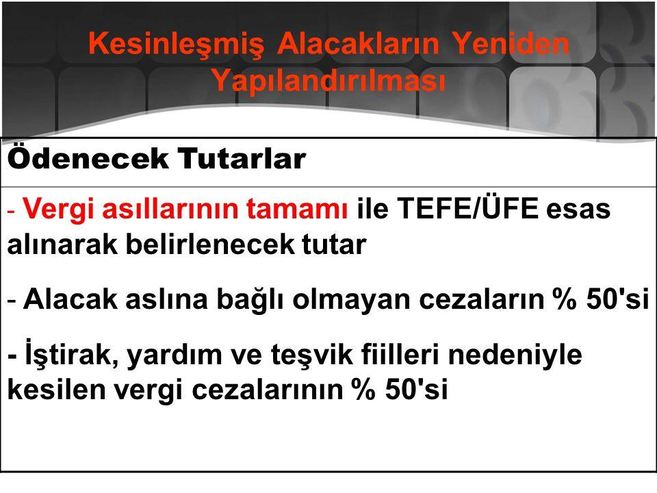 Kesinleşmiş Alacakların Yeniden Yapılandırılması Ödenecek Tutarlar - Vergi asıllarının tamamı ile TEFE/ÜFE esas alınarak belirlenecek tutar - Alacak a
