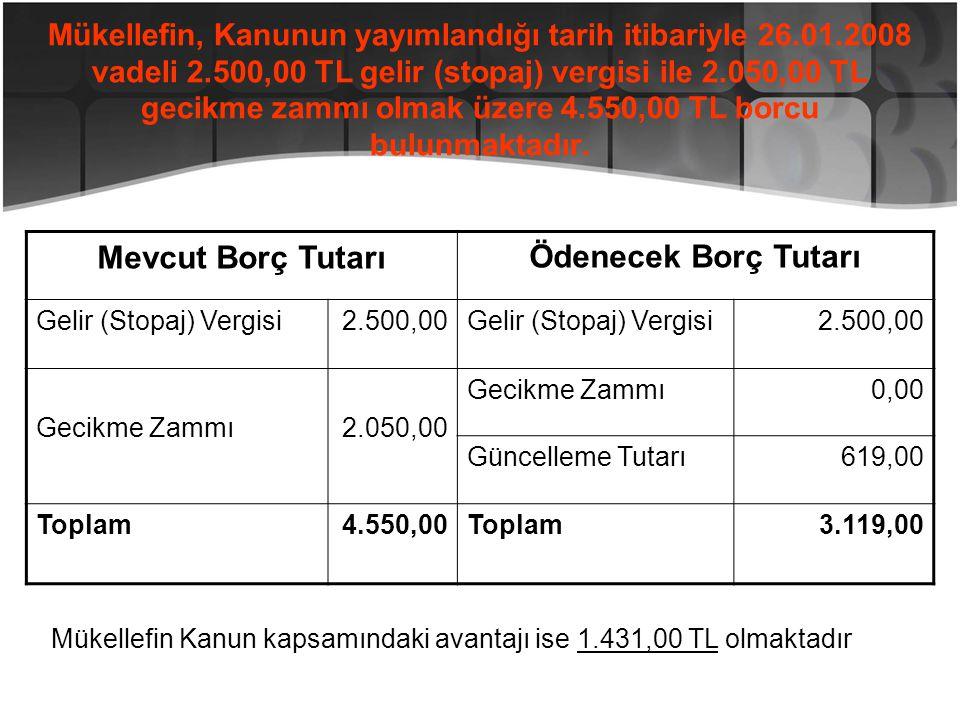 Mükellefin, Kanunun yayımlandığı tarih itibariyle 26.01.2008 vadeli 2.500,00 TL gelir (stopaj) vergisi ile 2.050,00 TL gecikme zammı olmak üzere 4.550