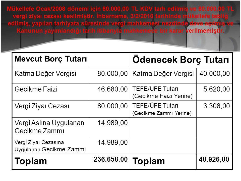 Mükellefe Ocak/2008 dönemi için 80.000,00 TL KDV tarh edilmiş ve 80.000,00 TL vergi ziyaı cezası kesilmiştir. İhbarname, 3/2/2010 tarihinde mükellefe