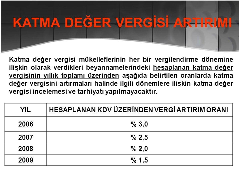 KATMA DEĞER VERGİSİ ARTIRIMI YILHESAPLANAN KDV ÜZERİNDEN VERGİ ARTIRIM ORANI 2006% 3,0 2007% 2,5 2008% 2,0 2009% 1,5 Katma değer vergisi mükelleflerin