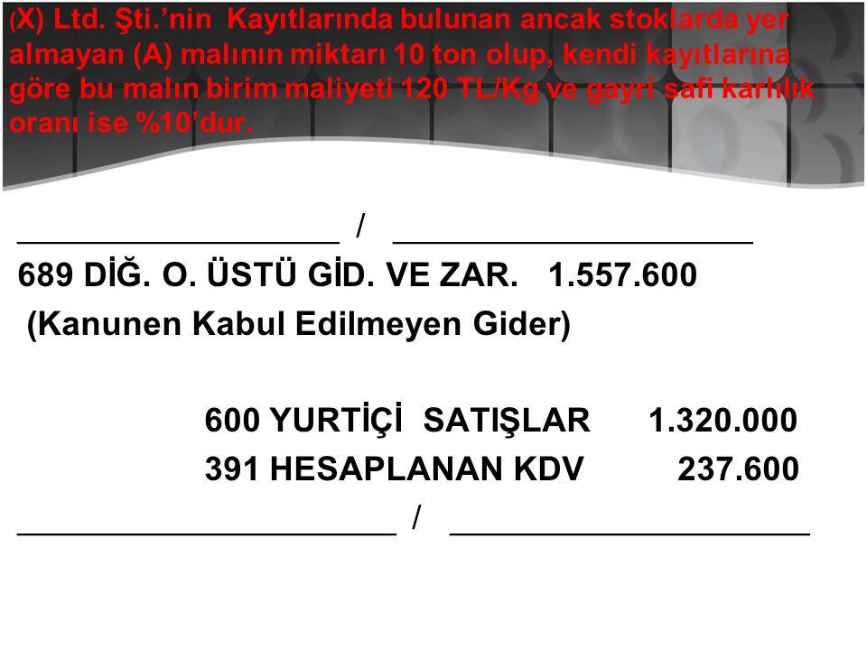 ( X) Ltd. Şti.'nin Kayıtlarında bulunan ancak stoklarda yer almayan (A) malının miktarı 10 ton olup, kendi kayıtlarına göre bu malın birim maliyeti 12
