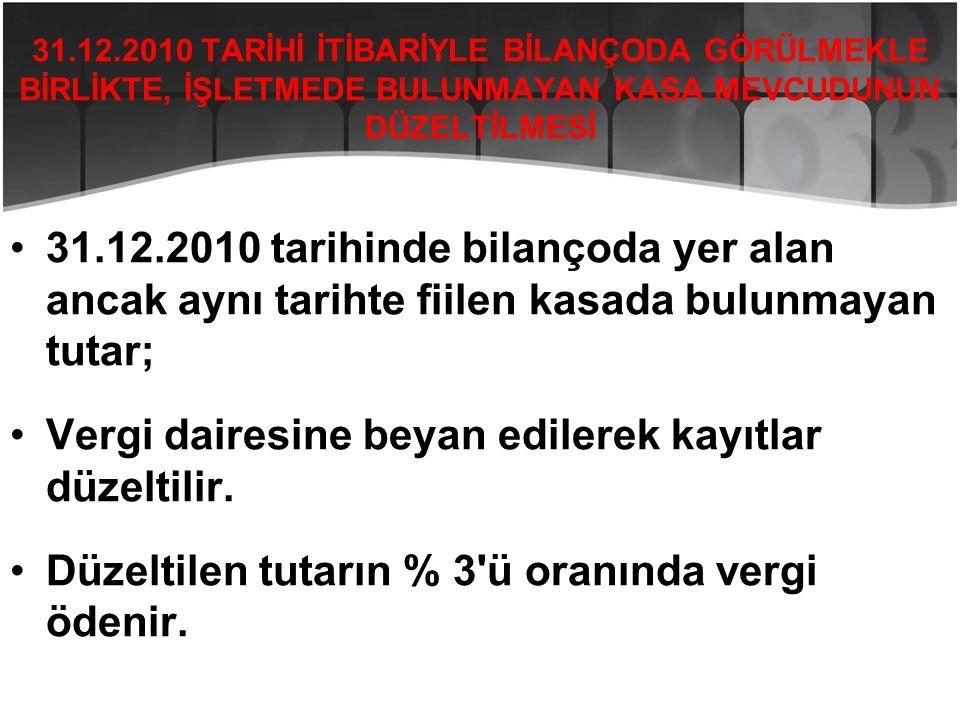 31.12.2010 TARİHİ İTİBARİYLE BİLANÇODA GÖRÜLMEKLE BİRLİKTE, İŞLETMEDE BULUNMAYAN KASA MEVCUDUNUN DÜZELTİLMESİ •31.12.2010 tarihinde bilançoda yer alan