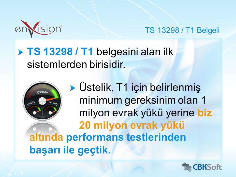 TS 13298 / T1 belgesini alan ilk sistemlerden birisidir. TS 13298 / T1 Belgeli Üstelik, T1 için belirlenmiş minimum gereksinim olan 1 milyon evrak yük