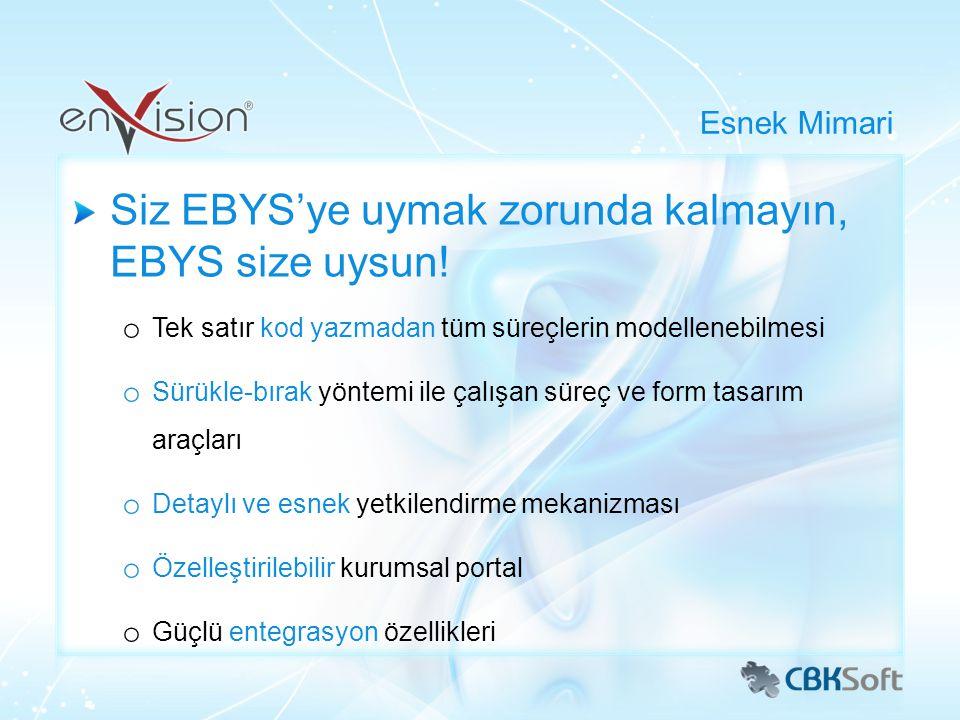 Siz EBYS'ye uymak zorunda kalmayın, EBYS size uysun! o Tek satır kod yazmadan tüm süreçlerin modellenebilmesi o Sürükle-bırak yöntemi ile çalışan süre